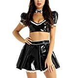 ranrann Womens Metallic PVC Leather French Maid Cosplay Costumes Deep V-Neck Crop Tops Short Skirt and Choker Black X-Large