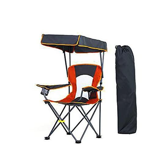 Silla De Campamento Mochila Plegable Silla De Jardín Plegable Para Exteriores Reposabrazos Y Toldo De Protección Solar UPF 50+,sillas De Playa,con Toldo De Protección Solar UV,Orange-camp chair