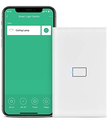 BroadLink Smart Touch Wall Switch, Interruptor monocable de 1 banda, no requiere neutro ni condensador, funciona con Alexa y Google Home, se requiere un hub(no hub)
