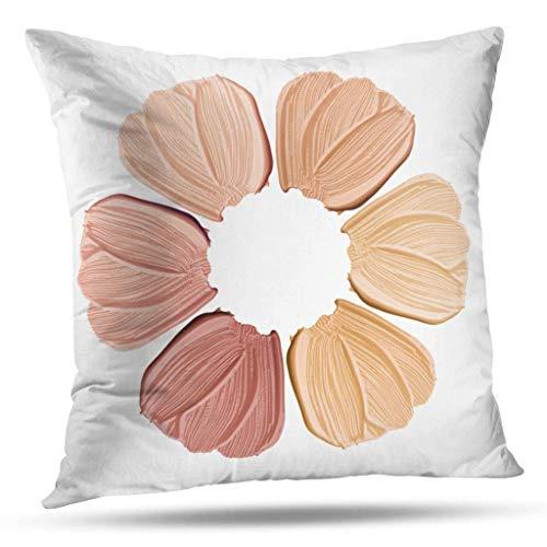 AEMAPE Throw Pillow Covers, Face Flower White Color Smear CR-eam Texture Skin Tone Shade Powder Home Funda de cojín para sofá Funda de Almohada Regalo Patrón de Doble Cara, 18 x 18 in
