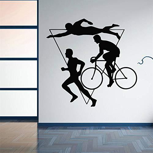 Zyzdsd Wohnkultur Sport Triathlon Vinyl Wandaufkleber Mehrstufigen Sportlichen Wettbewerb Wandtattoo Schwimmen Fahrrad Laufen Wandmalereien 59 * 57 Cm