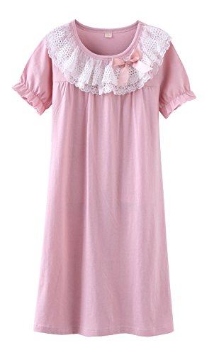 ABClothing Chicas camisón Edad 3 4 5 6 7 8 9 10 11 12 años Vestido de Noche de Princesa Nightwear Vestido de Noche de algodón Rosa
