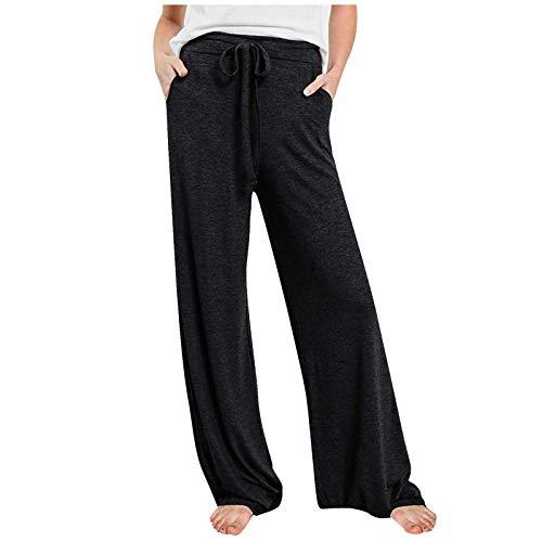 MORCHAN ❤ Femmes Pantalons décontractés Impression Large Jambe Bouton de Poche lâche Jeans Sarouel Combinaisons Collants Courts Pantalon Leggings Knickerbockers(4XL,Noir)