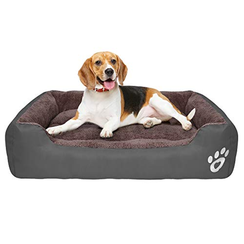 GoFirst Dog Bed, Warm Soft Comfortable Pet Bed Sofa XXXL 110 * 90cm for Jumbo Large Medium Dogs Cats Small Pets-Grey
