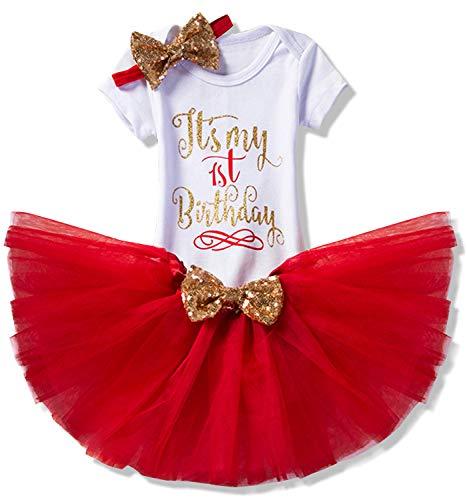 TTYAOVO Bebita 1er Cumpleaños Princesa Tutu Falda Ropa Conjunto de 3 Piezas Trajes Mameluco Falda Diadema (Leggings) 4-24 Meses 02 Rojo (1 Años)