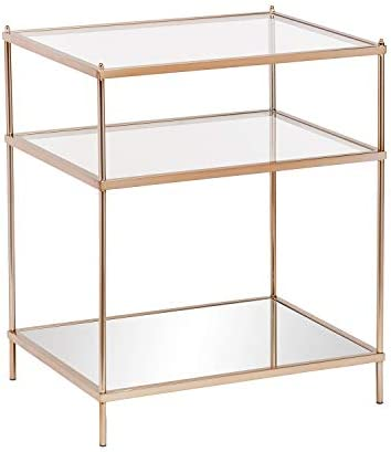 Best Southern Enterprises Knox Glam Mirrored, Side Table, Gold