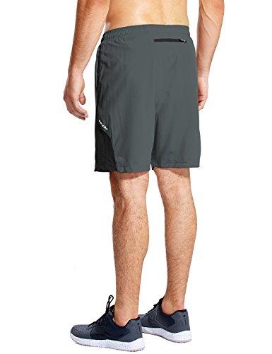 BALEAF Men's 7'' Athletic Running Shorts Quick Dry Mesh Liner Zip Pocket Gray Size M