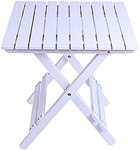 ZGYZ Mesa Plegable Moderna de Madera Maciza Mesa Auxiliar pequeña portátil para jardín/Patio/Invernadero Mesa de refrigerios al Aire Libre - 17,9 y Tiempos; 16,5 y Tiempos; 20,9 Pulgadas, Blanco