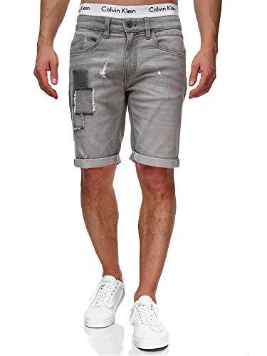 Indicode Herren Roberts Jeans Shorts mit 5 Taschen aus 98% Baumwolle   Kurze Denim Stretch Hose Used Look Washed Destroyed Regular Fit Men Short Pants Freizeithose f. Männer Lt Grey L