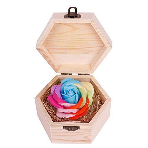 FENGLI Soap Flower Rose Gift, Colourful Rose in Wooden Hexagon Shape Box, Idea Valentines Day Mothers Day, Anniversary, Birthday Decoration, Engagement,Wedding, Party (Color : Light Blue)