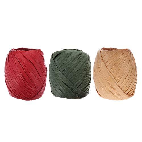 HEALLILY 6 Rollos de Cuerda de Papel de Rafia Cinta de Cuerda Artesanal para Regalo de Navidad Embalaje Suministros para Fiestas Decoraciones 20 M