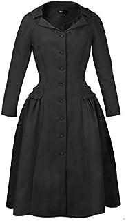 パーティードレス フレアワンピース ミディアムドレス 襟 長袖 ポケットデザイン タックプリーツ フロントボタン レッド ブラック