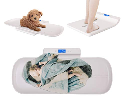 Baby Scale, Pet Scale, Multi-Function Digital Scale Measure Toddler/Adult/Puppy/Cat/Dog Weight(Max:220lb) and Height(Max:70cm) Accurately, Precision at ± 10g, KG/LB/OZ, Blue Backlight
