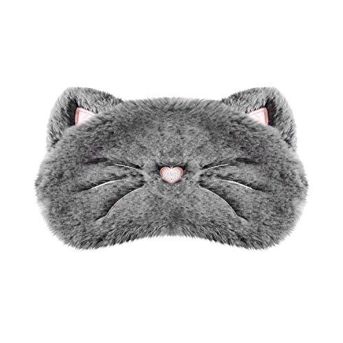 H HOMEWINS Schlafmaske 3D Süße Atmungsaktive Augenmaske aus 100{4af1ecf8657b9941d9770c3ef3f27685779200025ce8e5bc3c4fed1dad56b395} Naturseide & Plüsch Verstellbares Gummiband Schlafbrille Nachtmaske für Schlafen Reisen Party (Grau Katze)