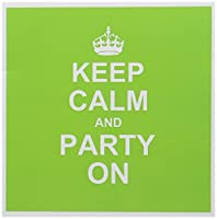 InspirationzStoreタイポグラフィ–Keep Calm and Party on–ネオングリーンCarry On Partying–楽しいパーティー動物ギフト–面白いユーモアユーモラスな–グリーティングカード Set of 12 Greeting Cards
