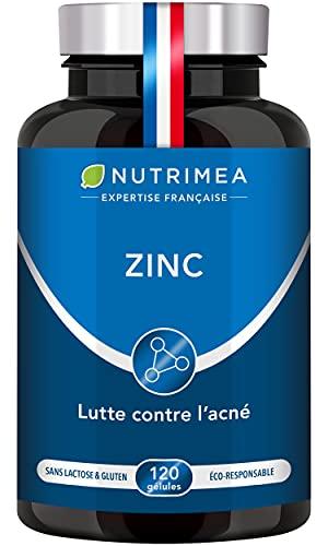 ZINC Citrate - Traitement de l'acné - Soutient le système immunitaire - Nutrimea - 120 gélules végétales apportant 12.5 mg de Zinc élément (Zn) – Haute absorption – Fabriqué en France
