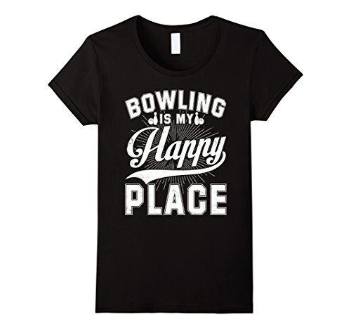 Womens Bowling Is My Happy Place T-shirt Vintage Old Style Large Black