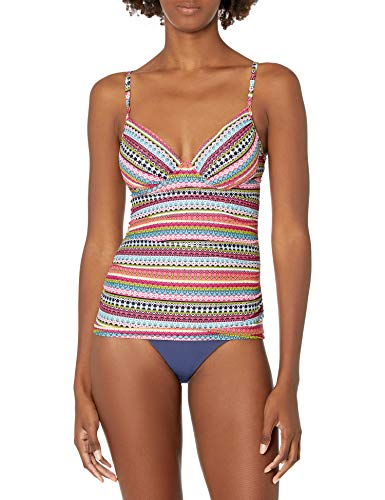 Anne Cole Women's Twist Front Underwire Cup Sized Tankini Swim Top, Jet Set Stripe, 40B/38C