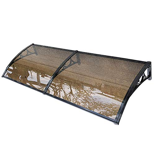 LIANGLIANG Awning Rain Door Canopy, Plastic Steel Bracket Mute Self-cleaning, Polycarbonate Anti-UV, Home Balcony Window Rain Ride (Color : Brown, Size : 60x60cm)