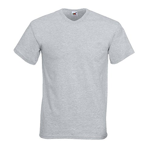 Fruit of the Loom - V-Neck T-Shirt 'Value Weight' L,Heather Grey