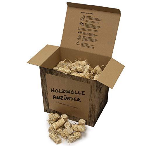Tendens 4 kg Premium Bio Anzünder Kaminanzünder Grillanzünder aus Holzwolle mit Wachs - Ofenanzünder, Feueranzünder, Anzündhilfe, Anzündwolle aus Holz - ökologisch; nachhaltig; vegan