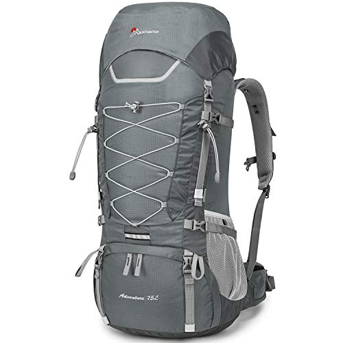MOUNTAINTOP 75L Large Hiking Camping Backpack Trekking Rucksack Mountaineering Backpack for Men and Women Ergonomic backpack Detachable Shoulder Strap Silver Gray