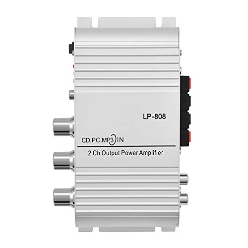 Growcolor Amplificador de Potencia Auto Car Home Audio Amplificador de Potencia Amplificador Digital Mini 20W 2 Canales HiFi Stereo Bass