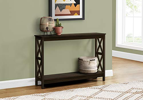"Monarch Specialties Entryway Hallway Sofa X-Frame Design Accent Storage Shelf for Livingroom Long Narrow Console Table, 48"" L, Espresso"