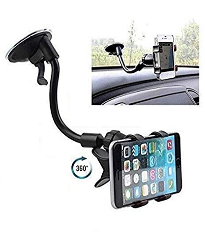 Global Craft Car Mount, Soft Tube Universal Windshield Dashboard GPS Stand Bracket Holder Clamp for iPhone,Samsung Galaxy,Other 3.5-6.3In Smart Phone (1 Pack) Model 05555