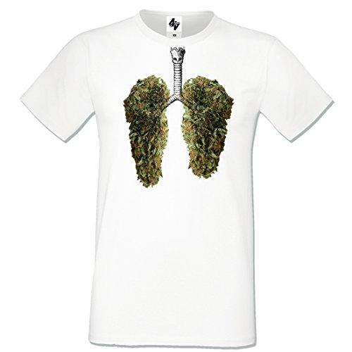 4sold Herren T-Shirt Glücklich Lunge Weihnachtsbaum Weiß Blau Schwarz Grau Heavy Cotton Regular Fit-runde Kragen Kurz Größe S-XXL (Large, Weiß leaves)