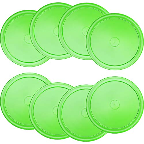 8 Pieces Air Hockey Pucks Replacement Round Pucks for Game Tables, Equipment, Accessories (Green, 2.5 Inch)