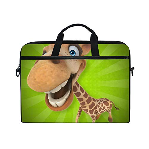 EZIOLY Fun Giraffe Cartoon Laptop Shoulder Messenger Bag Case Sleeve for 13 Inch to 14 inch Laptop