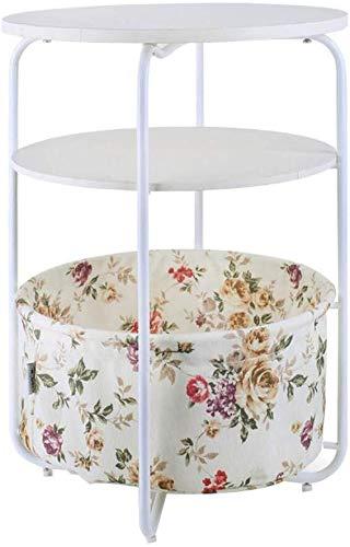 VIUNCE Mesita de noche gabinete de tres niveles de armario pequeña mesa de café mini sala de estar mesa esquinera sofá lateral cama mesa redonda (color: A) mesa auxiliar