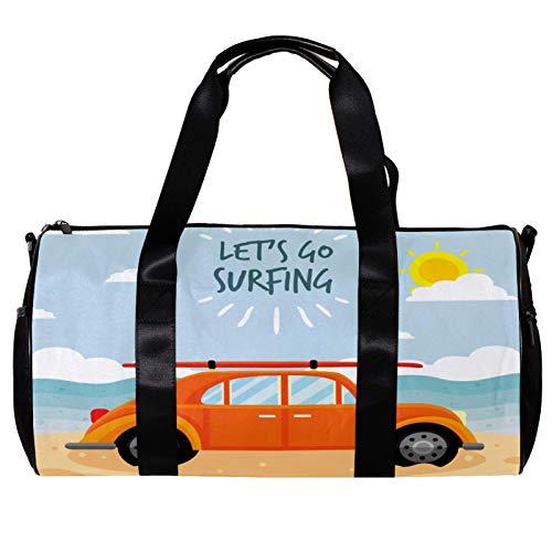 Round Gym Sports Duffel Bag With Detachable Shoulder Strap Surfing Tourer Training Handbag Overnight Bag for Women And Men