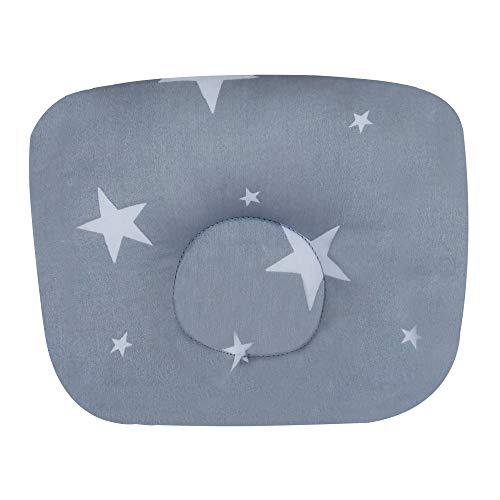 Kopfformungs- und Stützkissen für Säuglinge und Babys, Bezug aus 100 % Baumwolle mit Ballfaser-Füllung, hypoallergen, Anti-Staubmilben (grau – weiße Sterne)