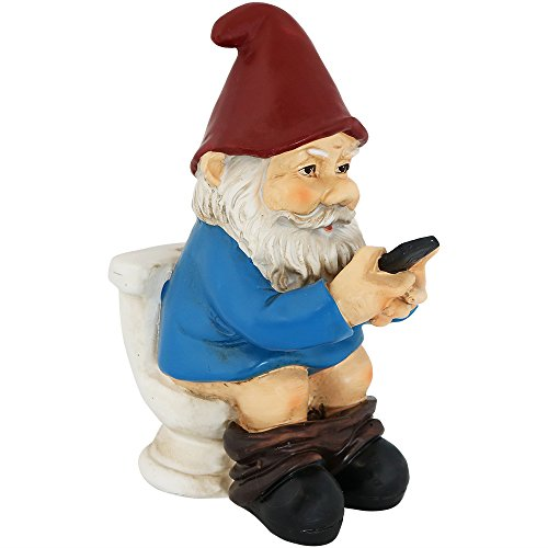 Sunnydaze Cody The Garden Gnome on The Throne Reading Phone, Funny Lawn...