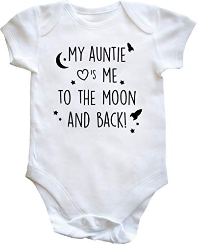 Hippowarehouse My Auntie Loves Me to The Moon and Back Baby Vest Bodysuit (Short Sleeve) Boys Girls...