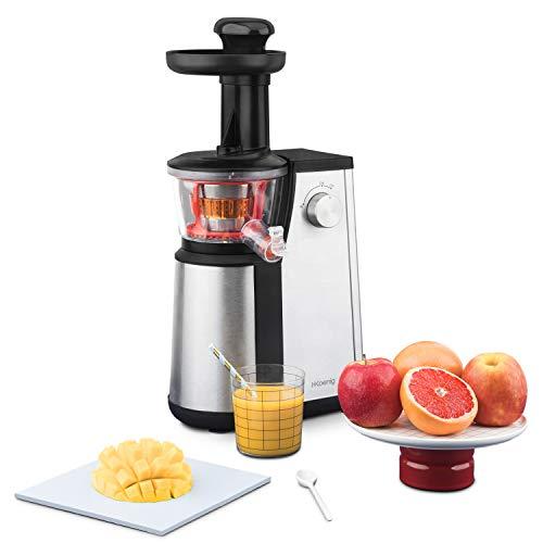 H.Koenig Licuadora para Frutas y Verduras de Prensado en Frío, Extractor de Jugos, 1 Litro, 60 RPM, 400 W, Libre de BPA, Acero Inoxidable, Gris GSX12