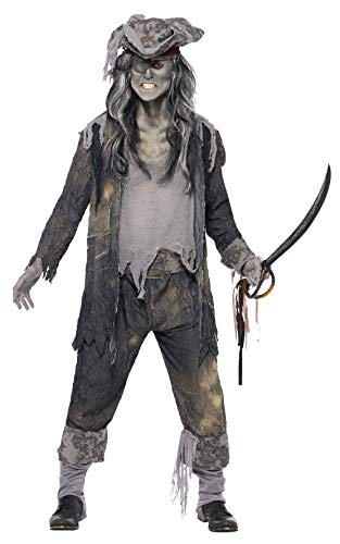 Smiffys, Herren Geister-Pirat Kostüm, Mantel, Hose und Hut, Größe: XL, 21331