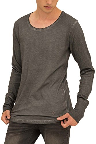 trueprodigy Casual Marca Camiseta Manga Larga para Hombre Basico Ropa Retro Vintage Rock Vestir Moda Cuello Redondo Slim fit Designer Fashion Shirt, Colores:Anthracite, Tamaño:L