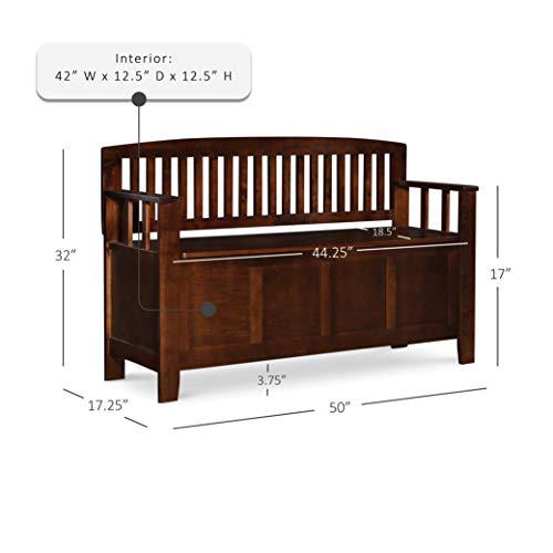 "Product Image 18: Linon Home Dcor Linon Home Decor Cynthia Storage Bench, 50""w x 17.25″d x 32″h, Walnut"