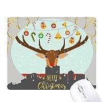 クリスマスの贈り物の鐘祭パターンの鹿 クリスマスイブのゴムマウスパッド