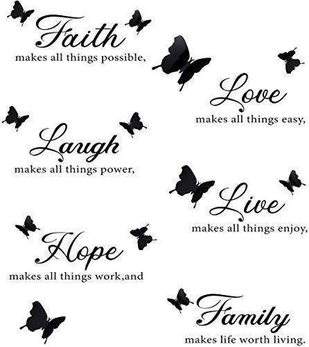 MONSIVILIA 2 Stück Wandtattoo Spruch Schmetterlinge Butterfly Wandaufkleber Schwarz Selbstklebend Wandsticker Familienaufkleber Wandtattoo Familie Wand Aufkleber für Wände und Möbel