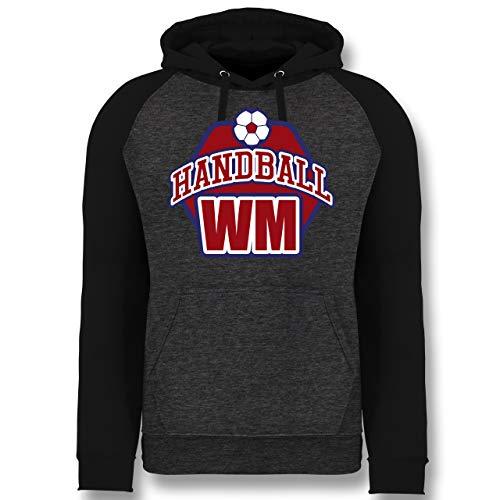 Shirtracer Handball WM 2019 - Handball WM 2019 - XXL - Anthrazit meliert/Schwarz - Spruch - JH009 - Baseball Hoodie