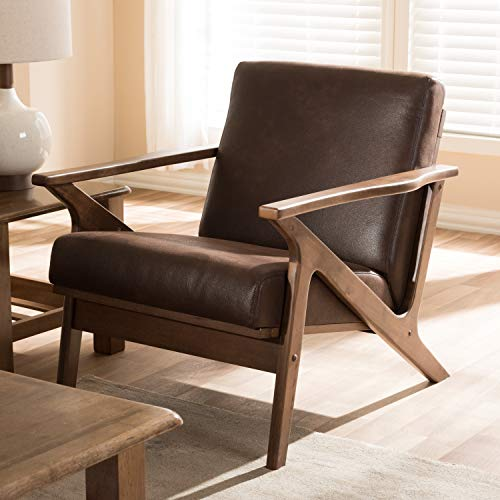 Baxton Studio Distressed Faux Leather Lounge Chair in Walnut and Dark Brown