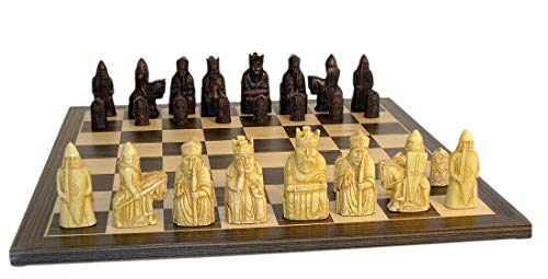 Best décor Isle of Lewis Chess Set Ebony Veneer Board