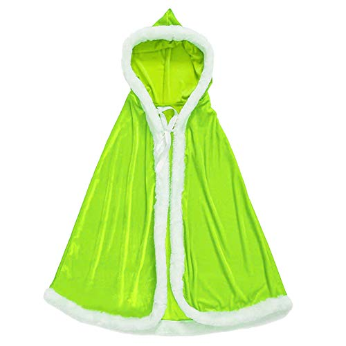 Dasior Girls Christmas Party Cloak Claus Santa Xmas Velvet Hooded Cape Robe with Fur Trim 47 Inches Lime Green