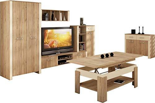 """Wohnzimmer Möbel Satz, TV Wohnwand \""""HUGO IV\"""" TV Bank, Display Einheit, Wandhängend Regal, 2T Kleiderschrank plus Kommode (2 Schubladen 2 Türen) und Aufklappbarer Kaffetisch. Craft Gold/Creme."""
