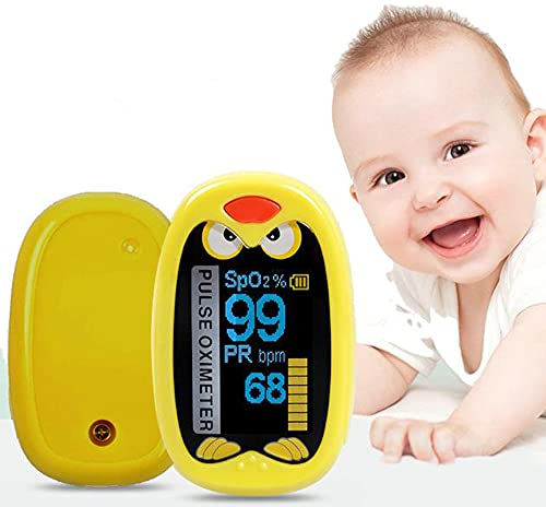 GadgetMarket Pediatric Fingertip Pulse Oximeter, Portable SpO2 Blood Oxygen Monitor for 1-12 Years Old Children Digital Auto Rotating OLED Screen with Rechargeable Battery   Yellow