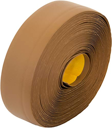 Weichsockelleiste selbstklebend, 25m Rolle, Sockelleiste für Laminat, Parkett und Vinyl, Winkelleiste aus Kunststoff, Abschlussleiste für Boden und Wand (hellbraun)